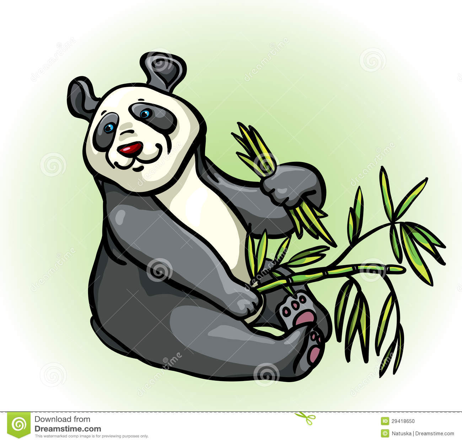 Cartoon Panda And Bamboo Leaves Stock Illustration Image