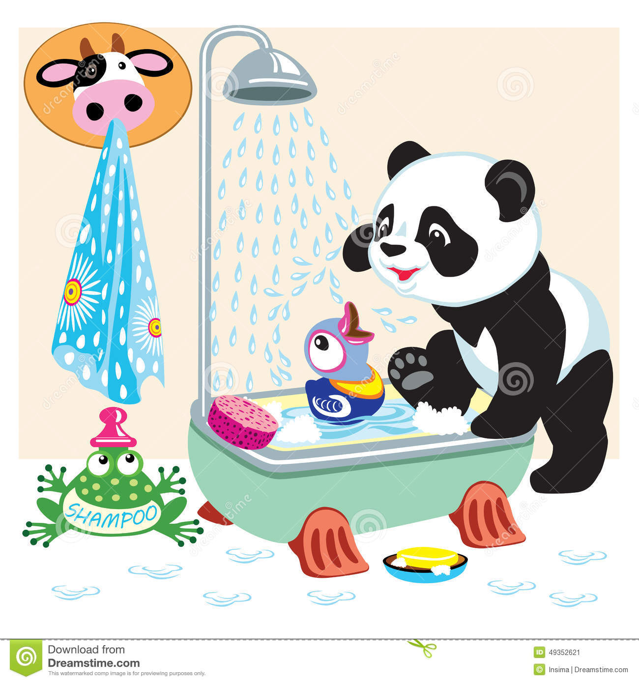 Cartoon Panda In The Bathroom Royalty Free Vector