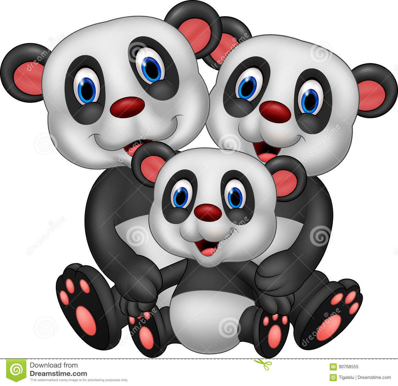 Cartoon panda bear family stock vector. Illustration of ...