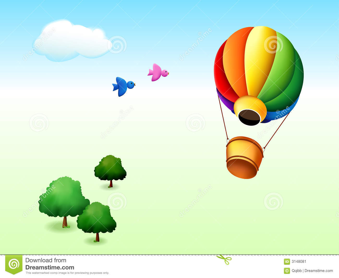 Illustration of cartoon park with trees, birds and fire balloon.