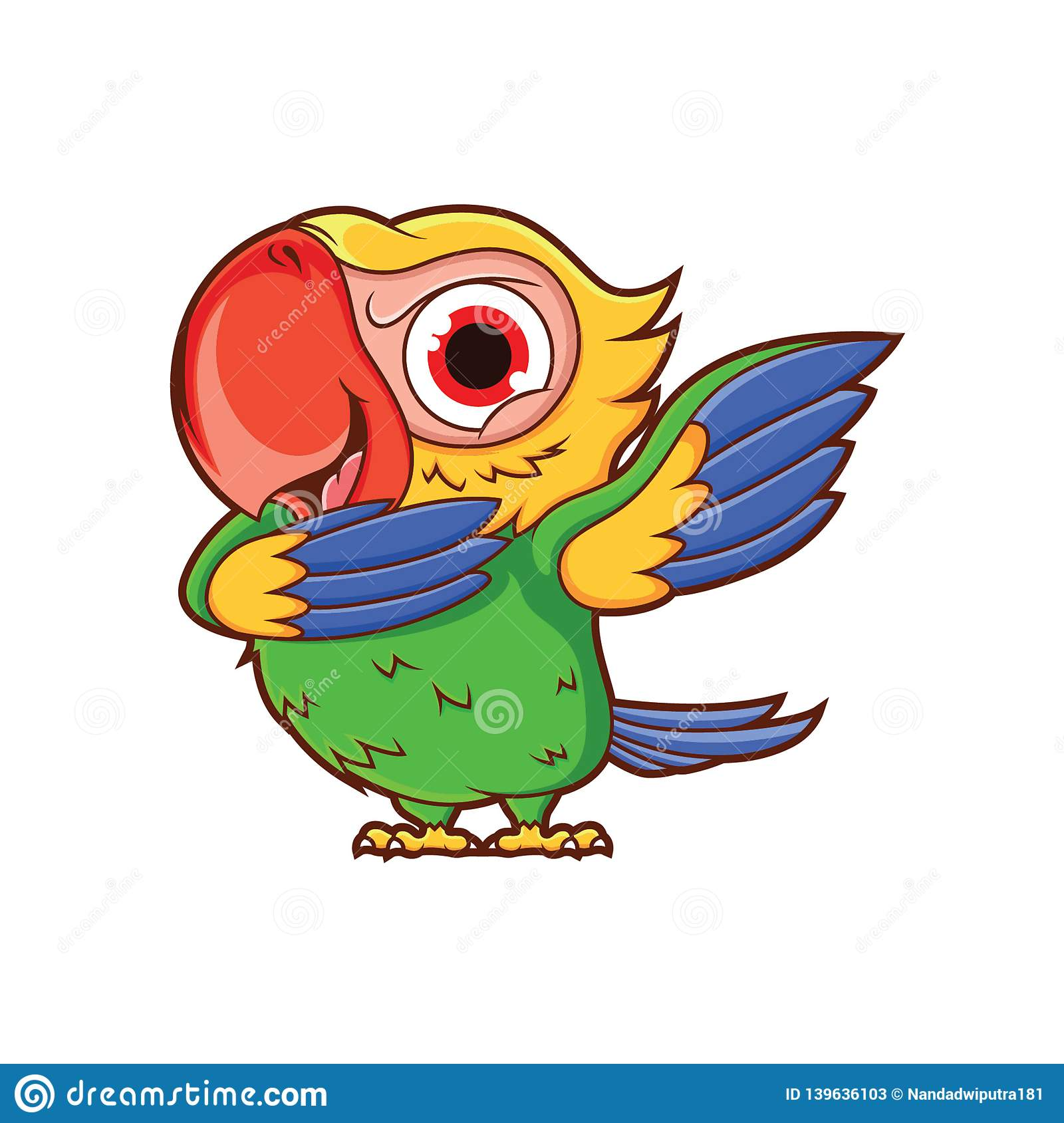 Cartoon Parrot Dubbing With A Funny Bold Expression Stock