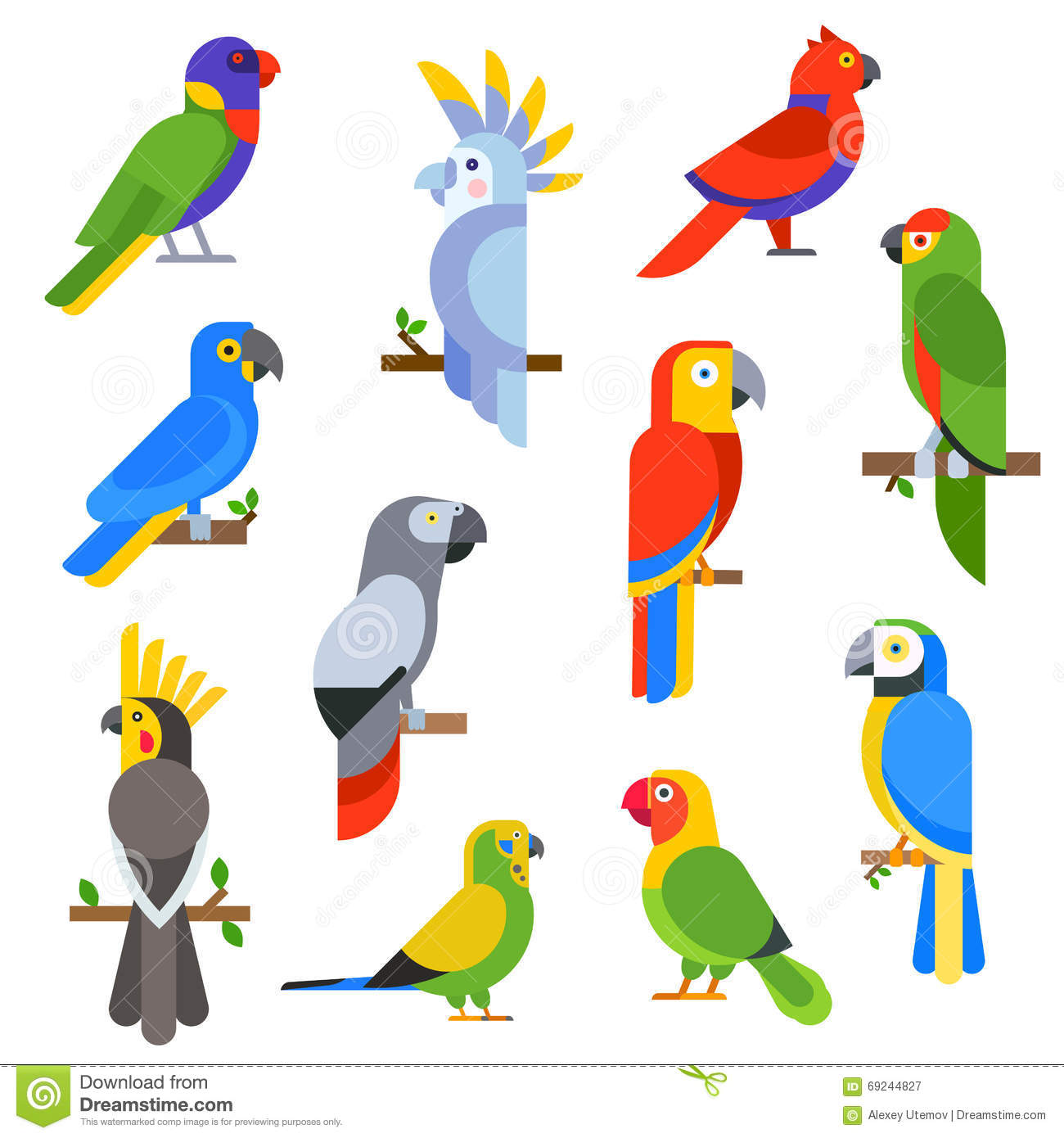 cartoon parrots set and parrots wild animal birds vector scarlet macaw clipart macaw clipart