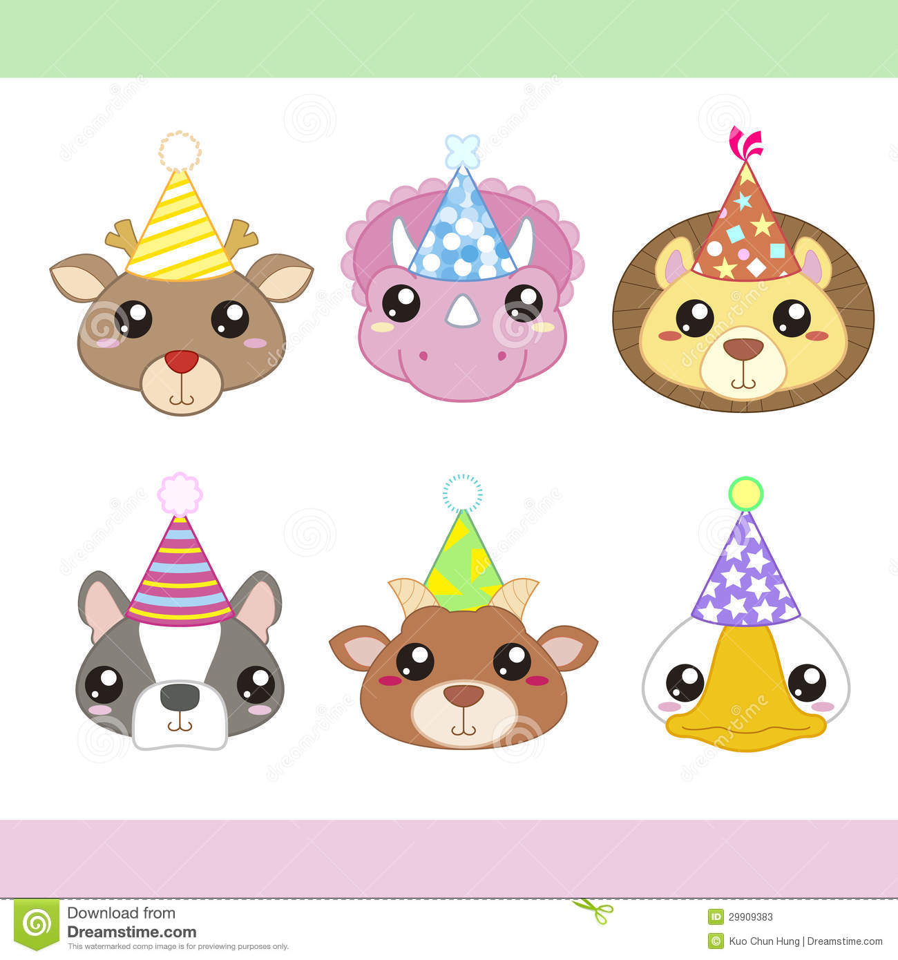 Cartoon Party Animal Icons Collection Stock Vector - Image ...