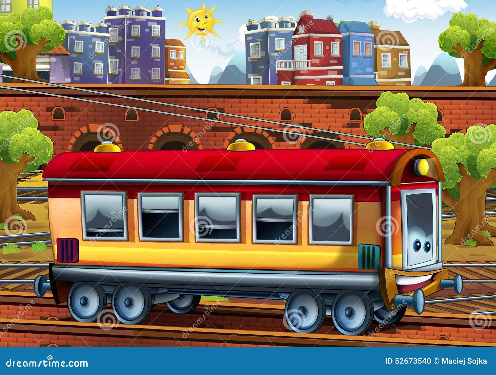 cartoon passenger car train station stock illustration image