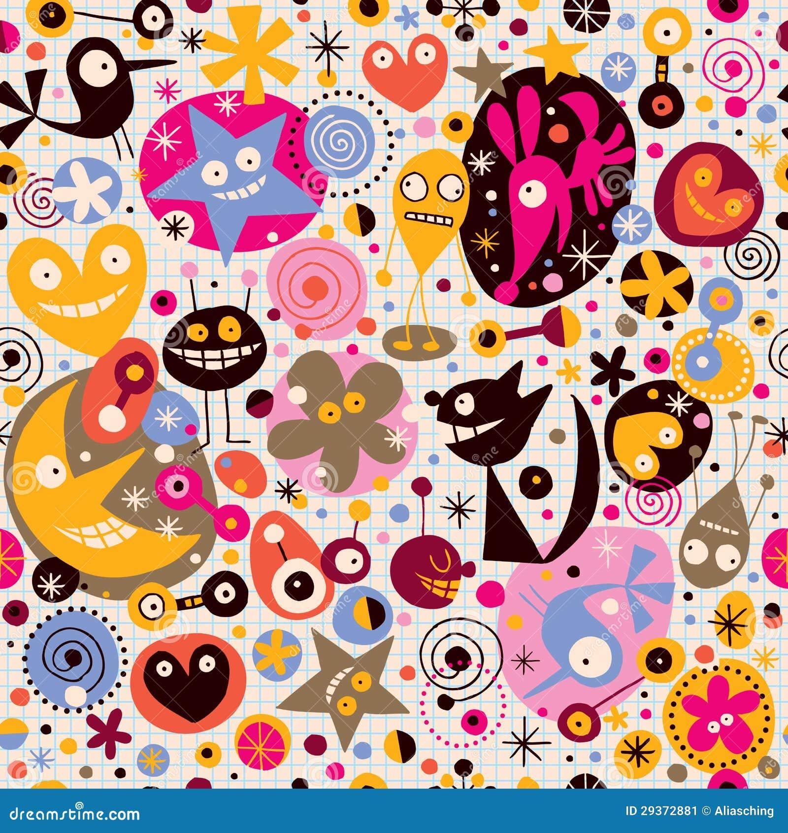 cartoon pattern stock vector  image of creature  joyful