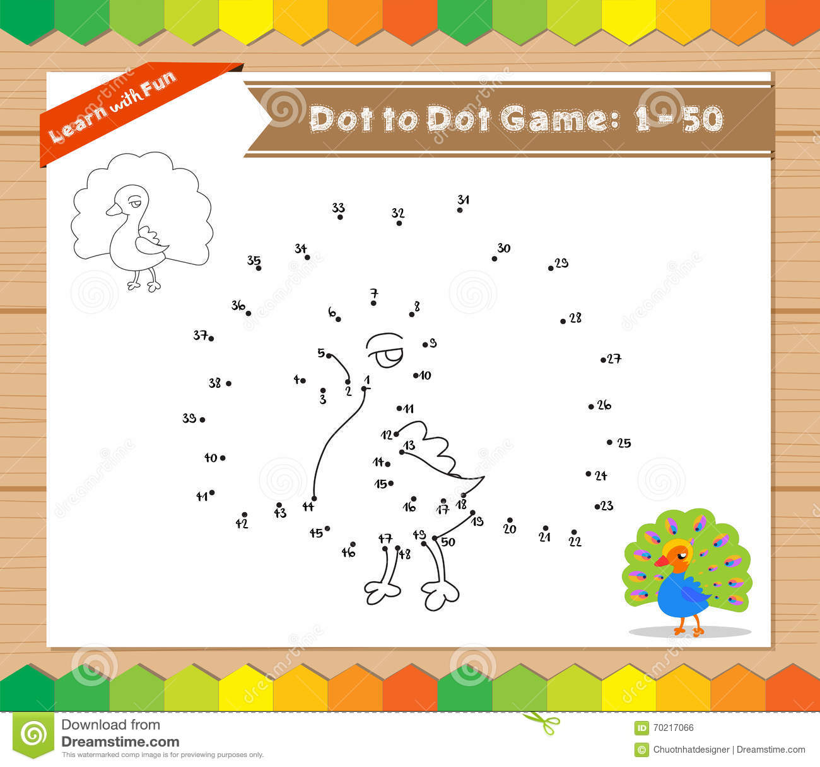 cartoon peacock dot to dot educational game for kids stock