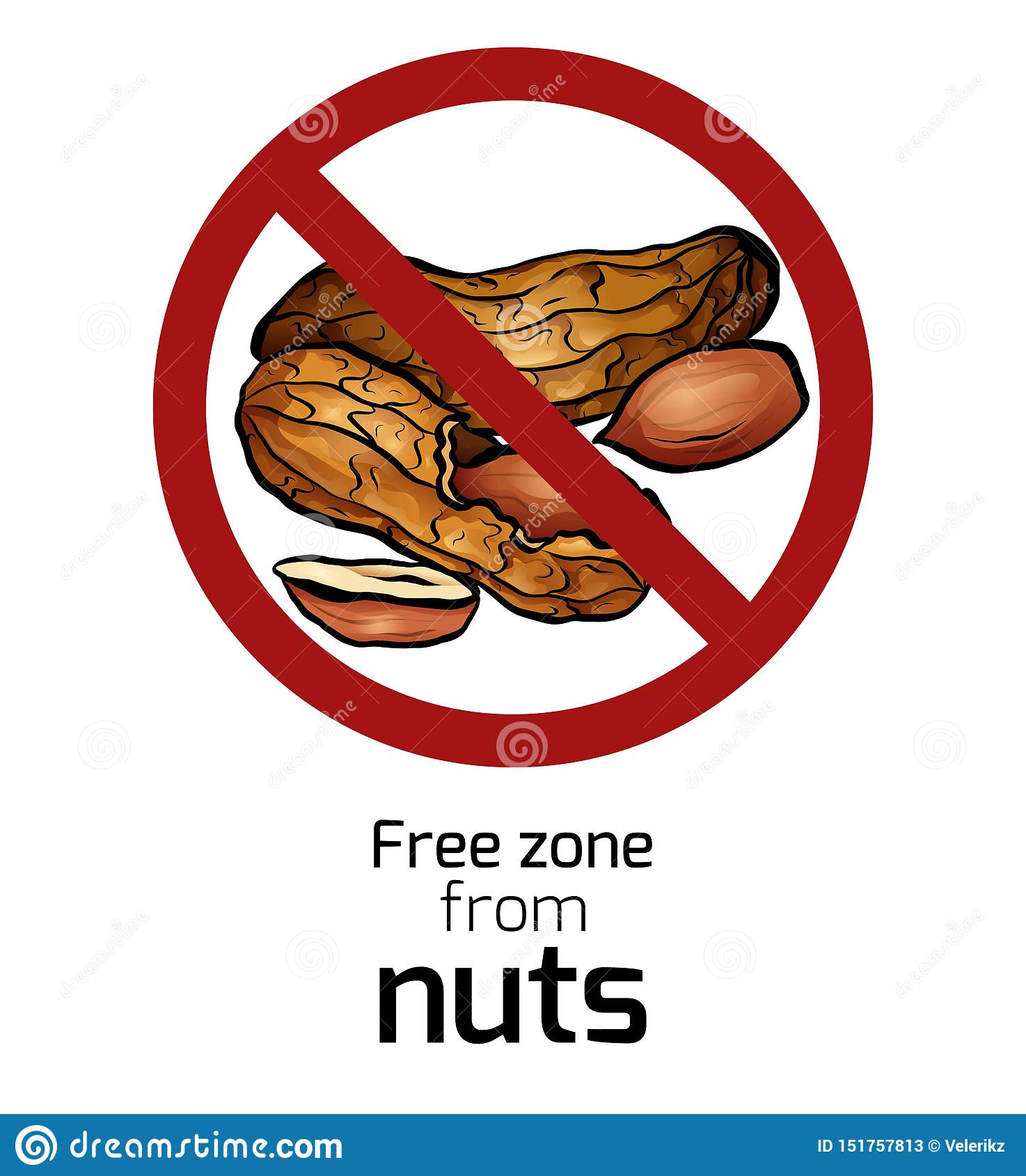 Cartoon peanut in the prohibition sign. Free zone from nuts. Ban on allergens. Allergy Alert. Badges with forbiddance