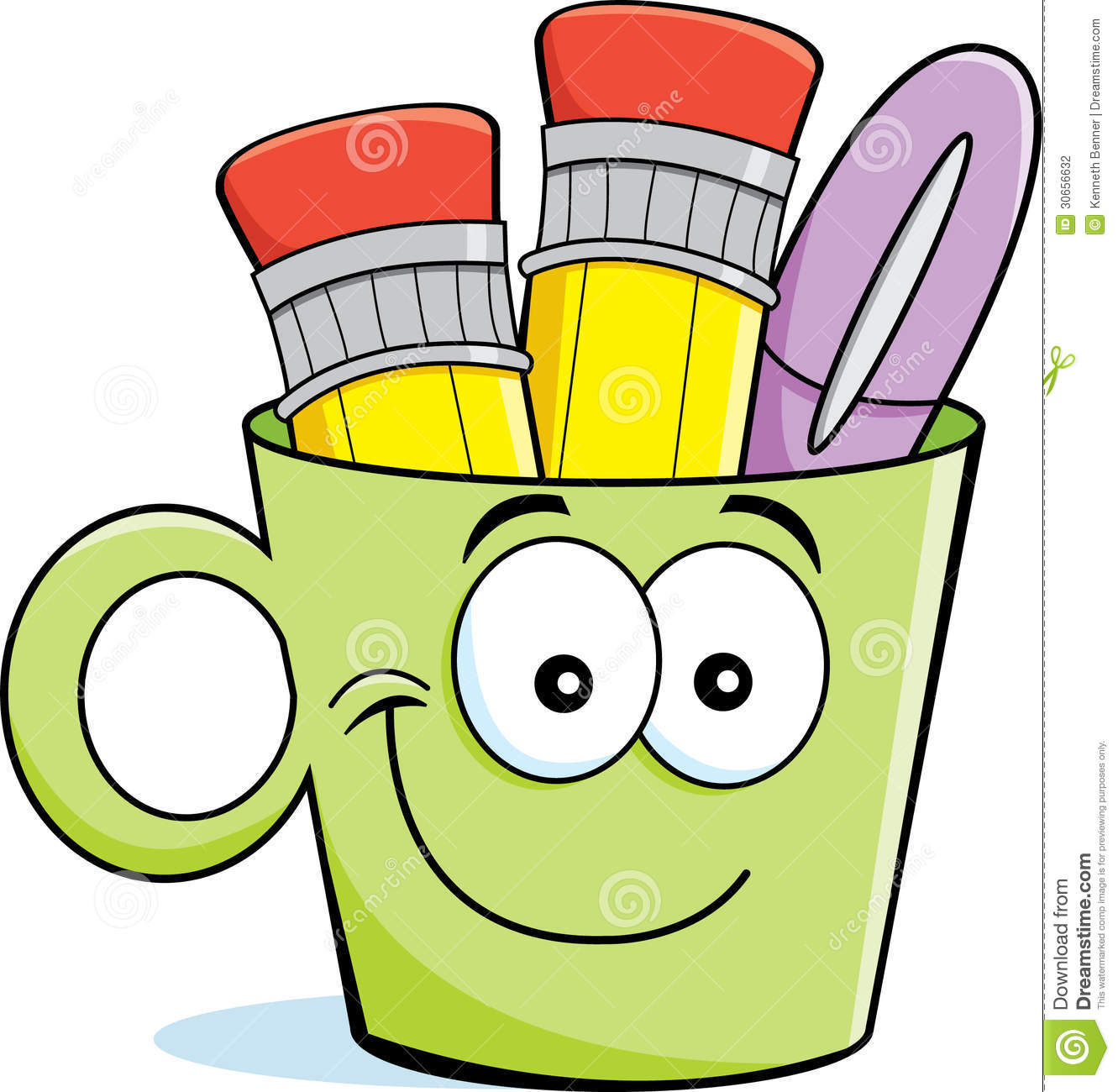 Cartoon illustration of a cup filled with pencils and a pen.