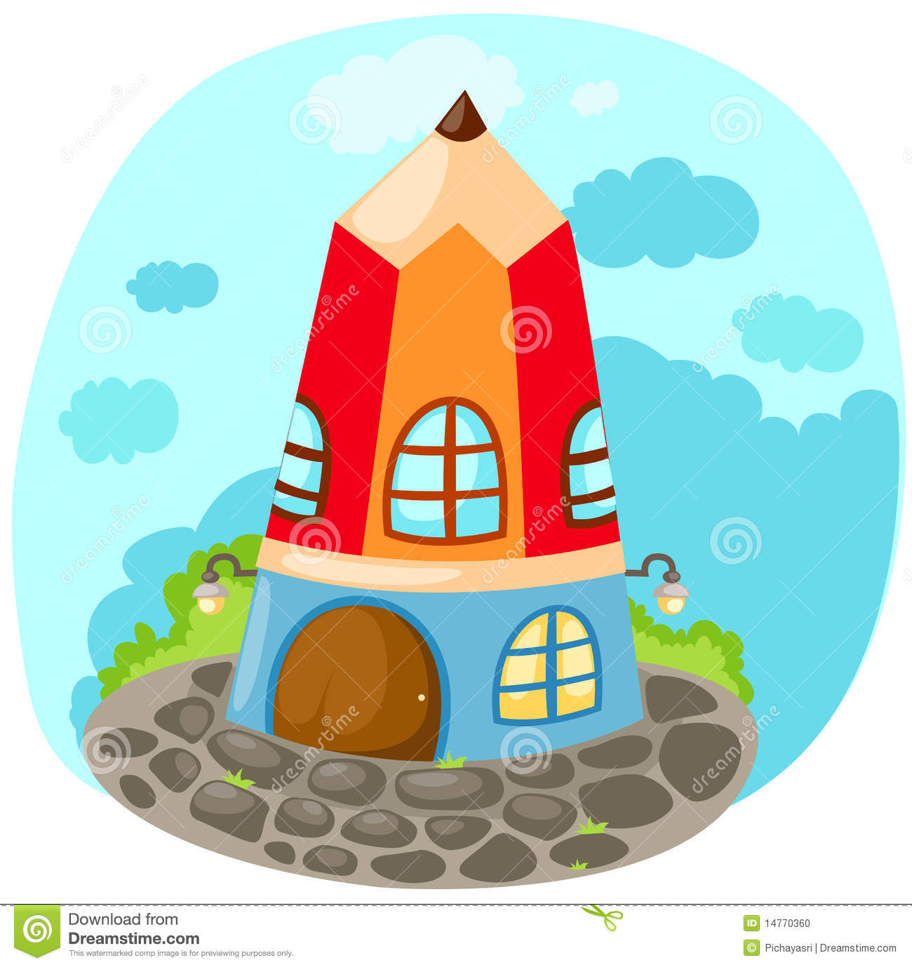 Cartoon Pencil House Stock Photo Image 14770360