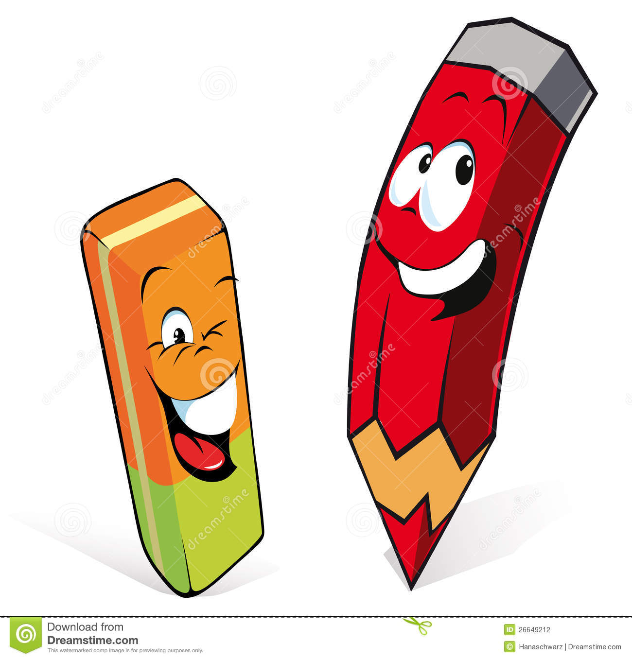Cartoon illustration of pencil and eraser or rubber, white background.