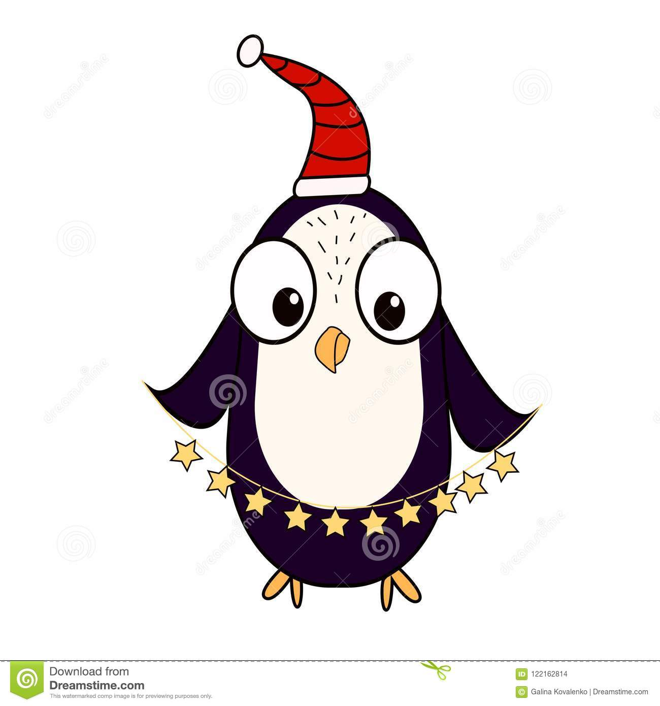 a cartoon penguin in the cap of santas assistant character for christmas and