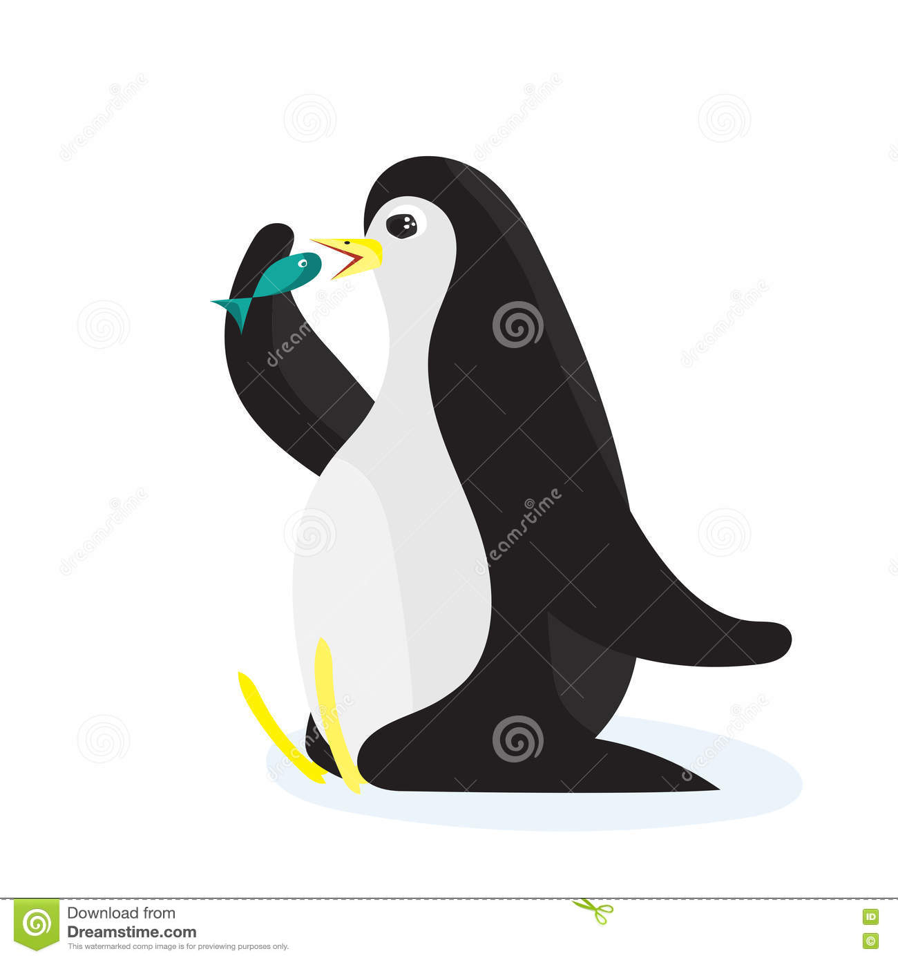 Cartoon penguin eating the fish flat vector isolated on for Penguin and fish