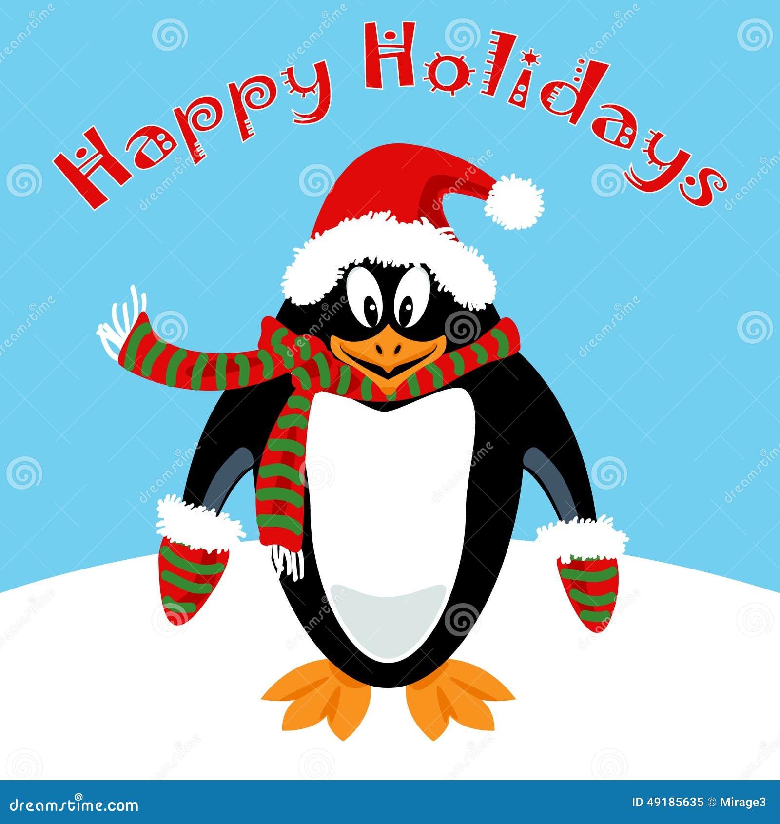 cartoon penguin holiday card stock vector - Holiday Cartoons Free