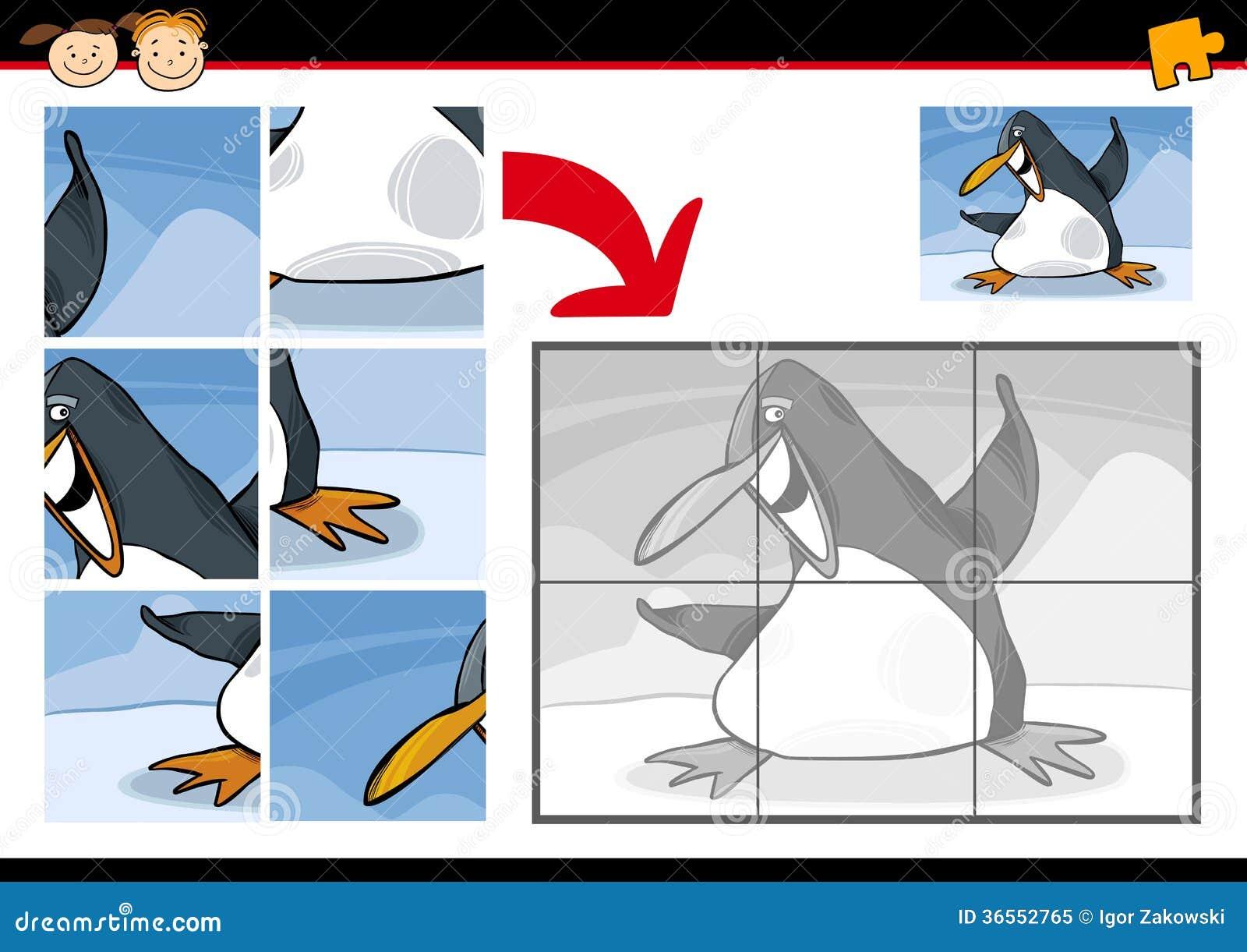 Cartoon Penguin Jigsaw Puzzle Game Royalty Free Stock Photo - Image ...