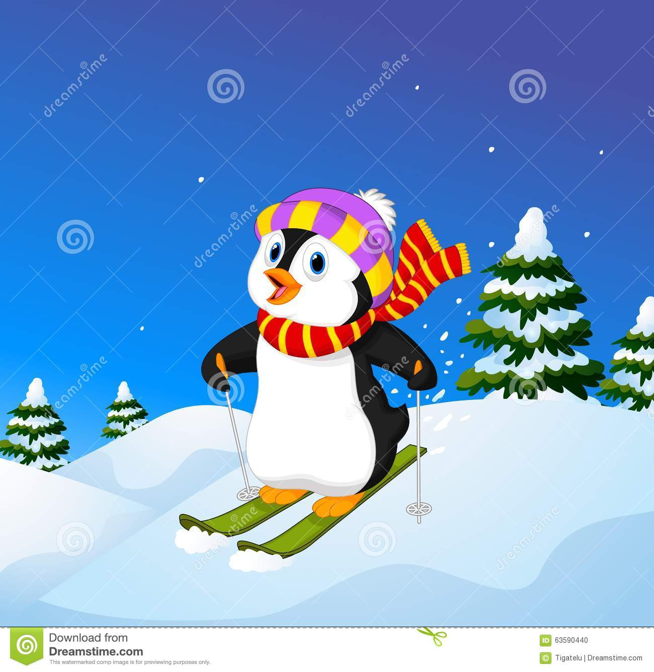 cute christmas cartoon penguin