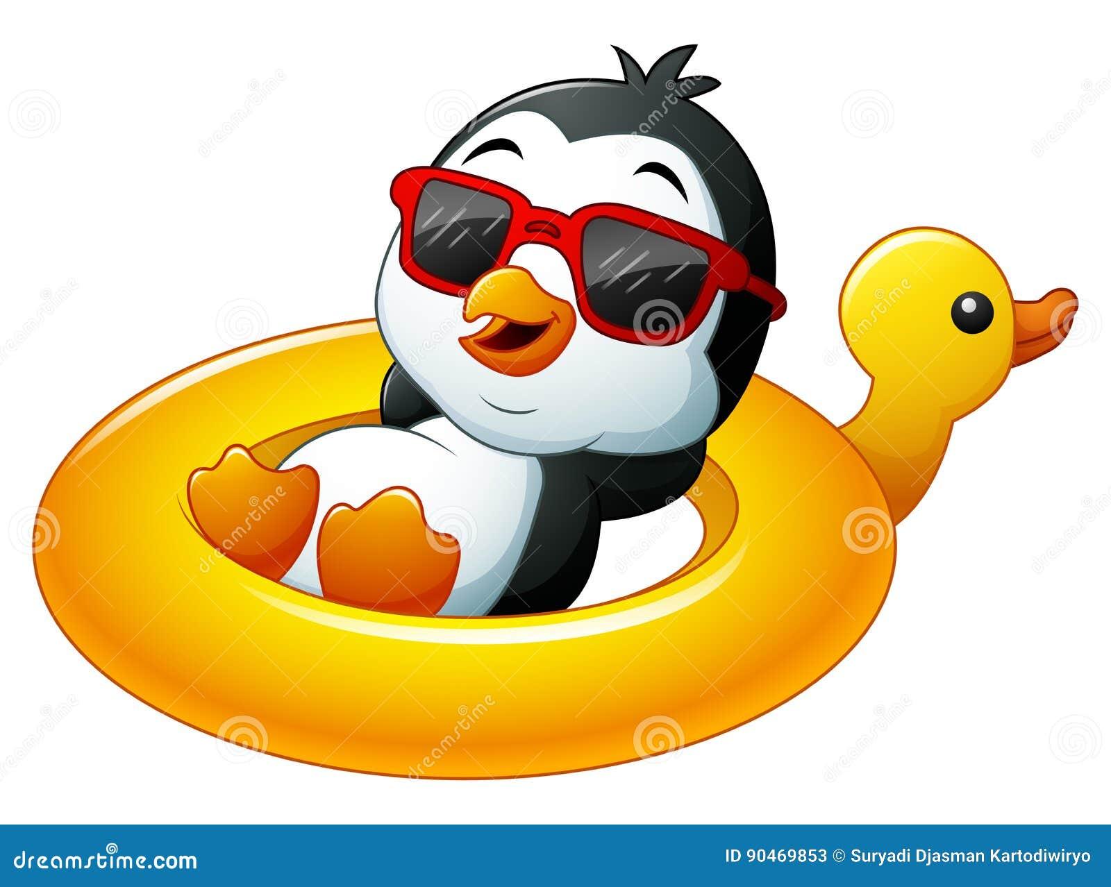 Cartoon Penguin In Summer Straw Hat Stock Vector ...