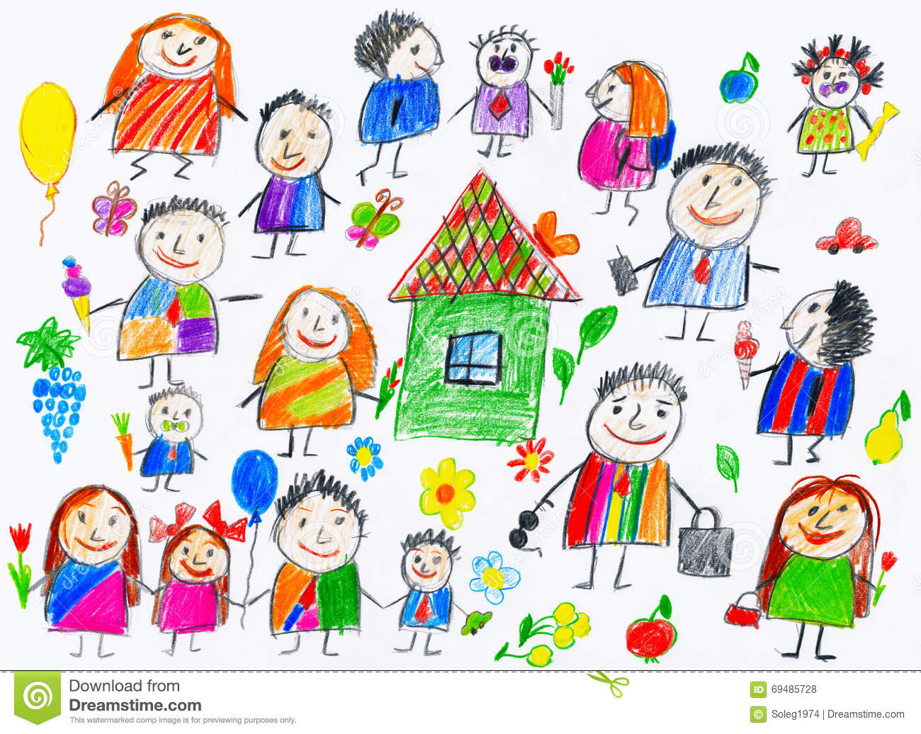 Cartoon People Collection Child Drawing Object On Paper