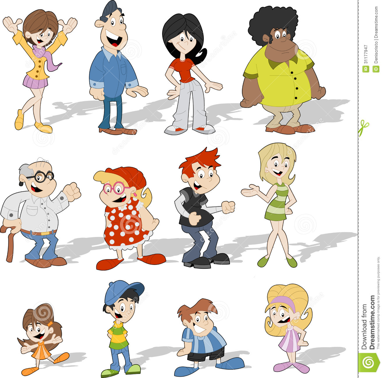 Group Of 6 Cartoon Characters : Cartoon people royalty free stock photography image