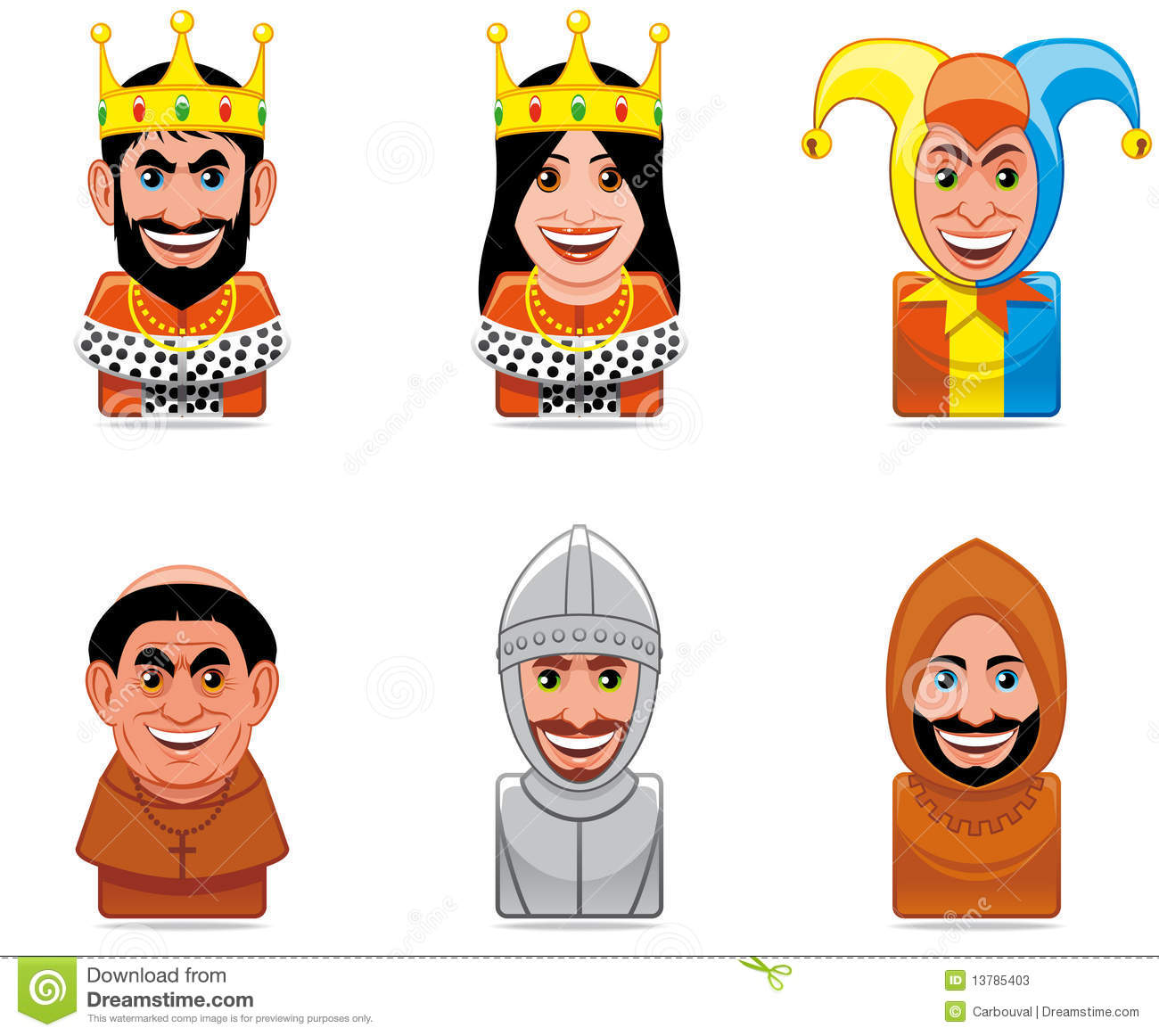 Cartoon People Icons Middle Ages Stock Illustration
