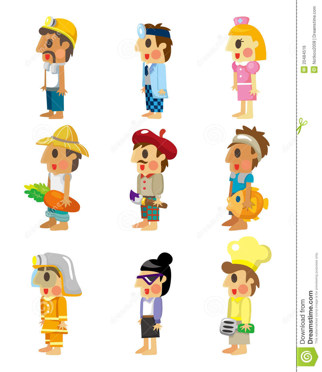cartoon people job icons set stock vector illustration of