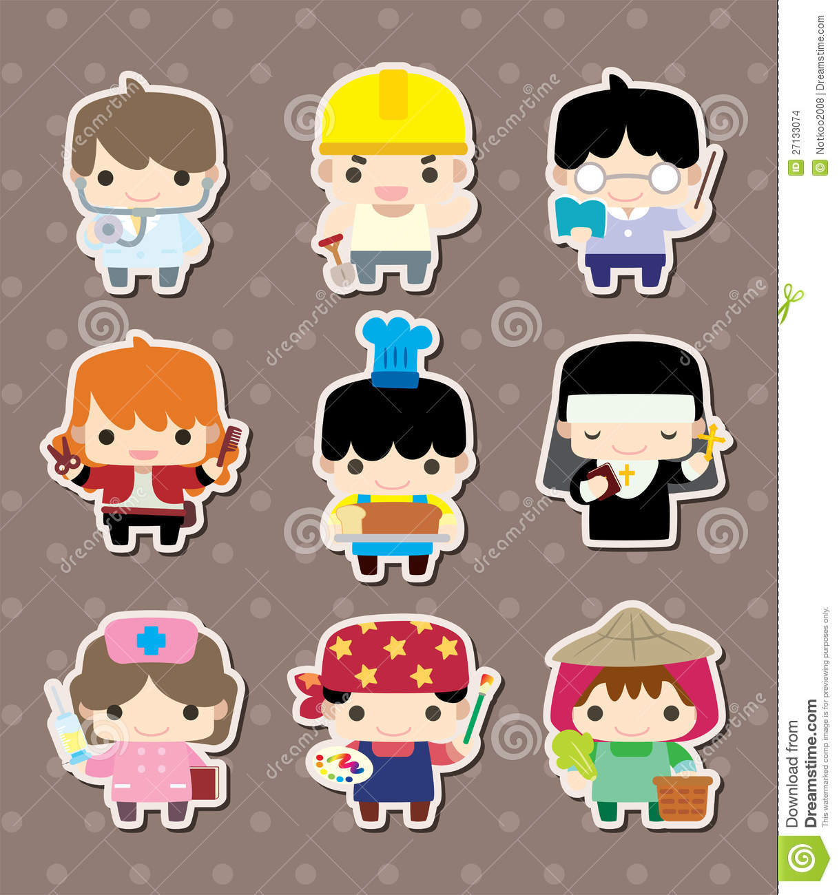 Cute Cartoon Pictures Of People Job Stickers Stock