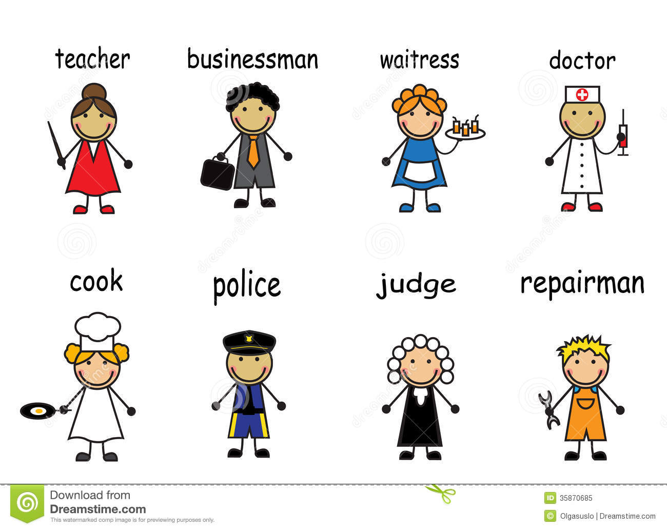 Cartoon People Of Various Professions Stock Vector ...