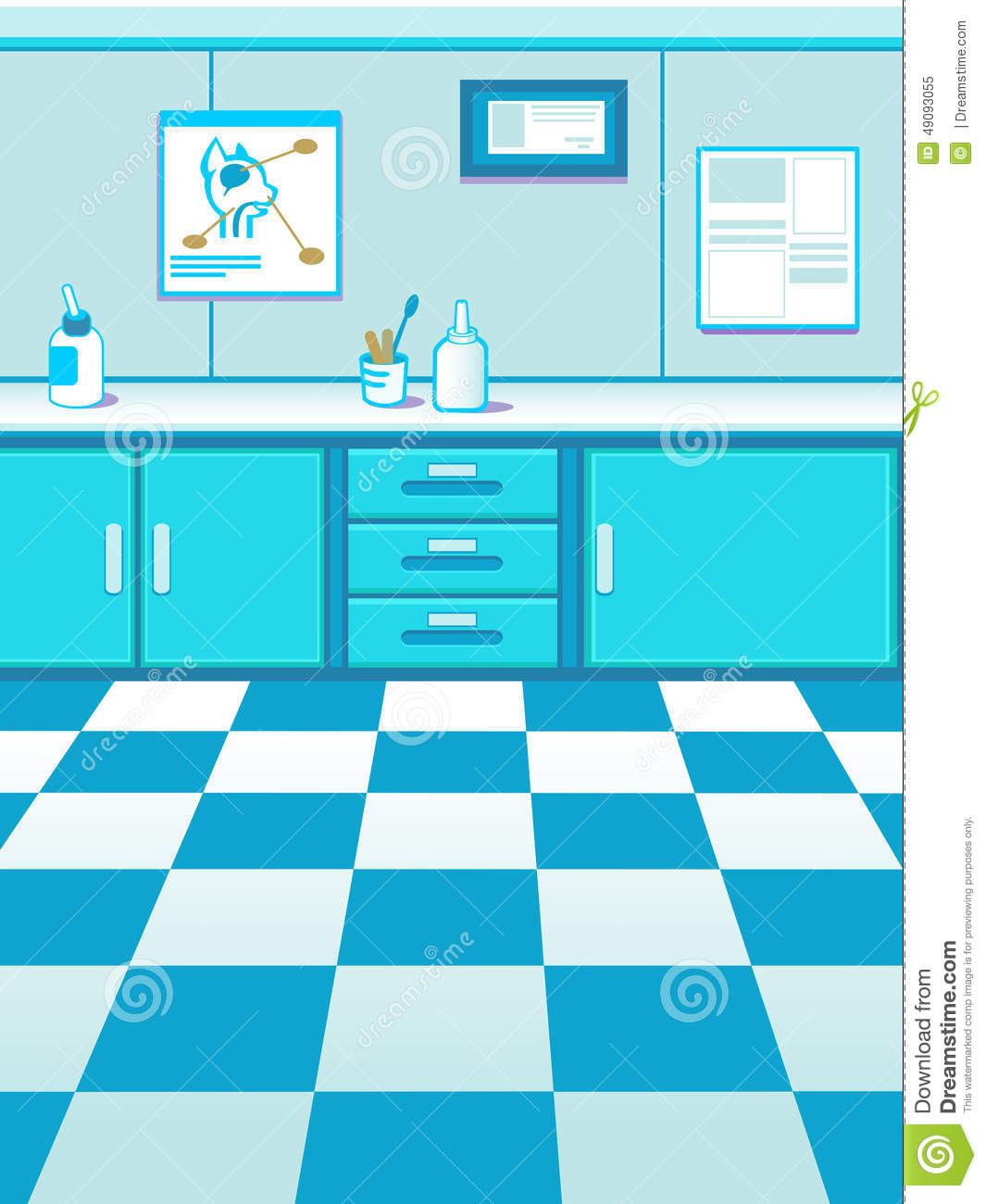 Cartoon Pet Doctor Office Game Background Stock Vector