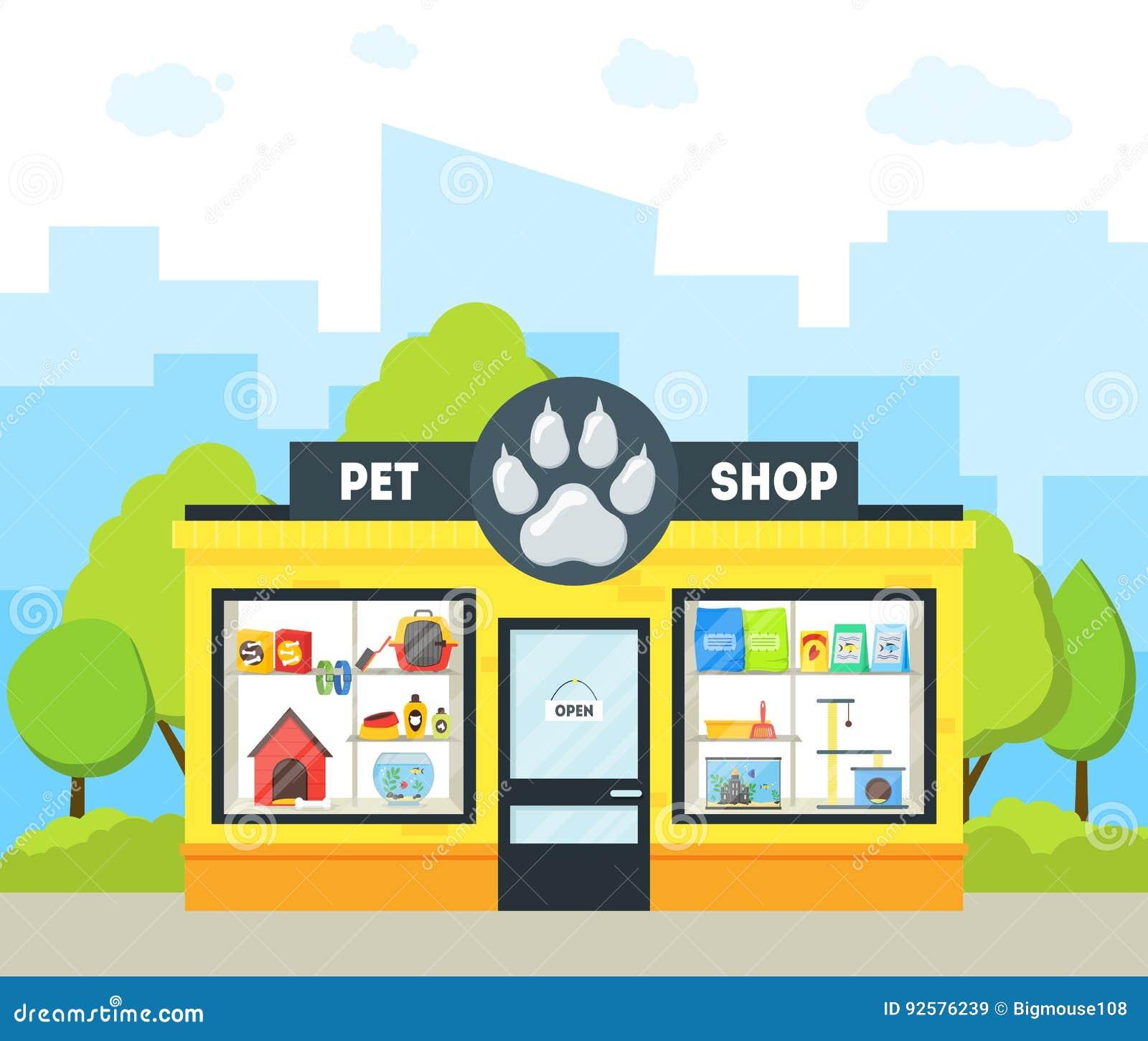 Cartoon Pet Shop Building Vector Stock Image