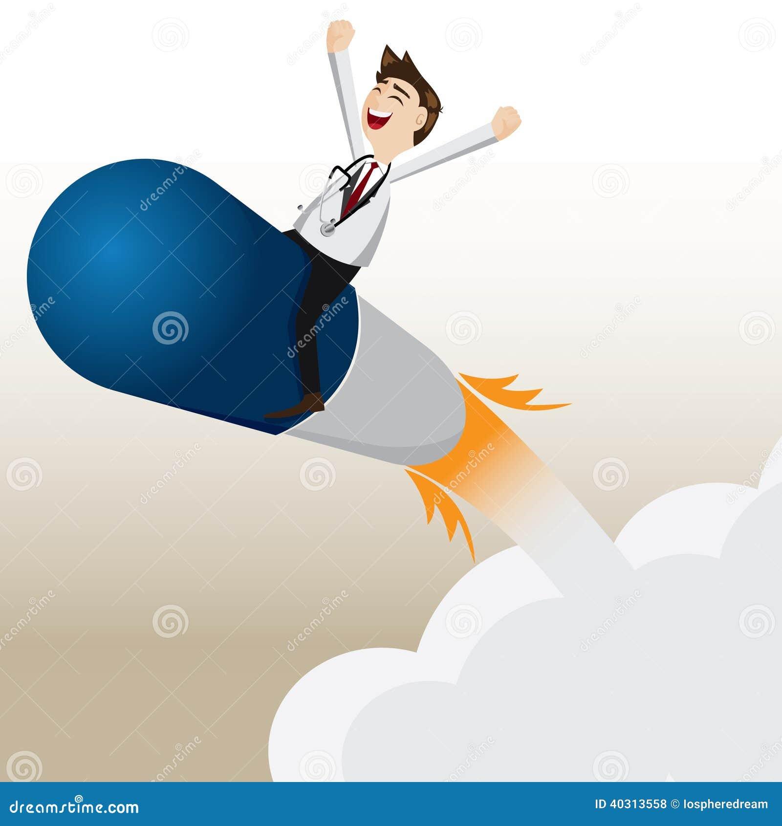 ... Pharmacist Riding Capsule Missile Stock Vector - Image: 40313558 Superhero Flying Vector