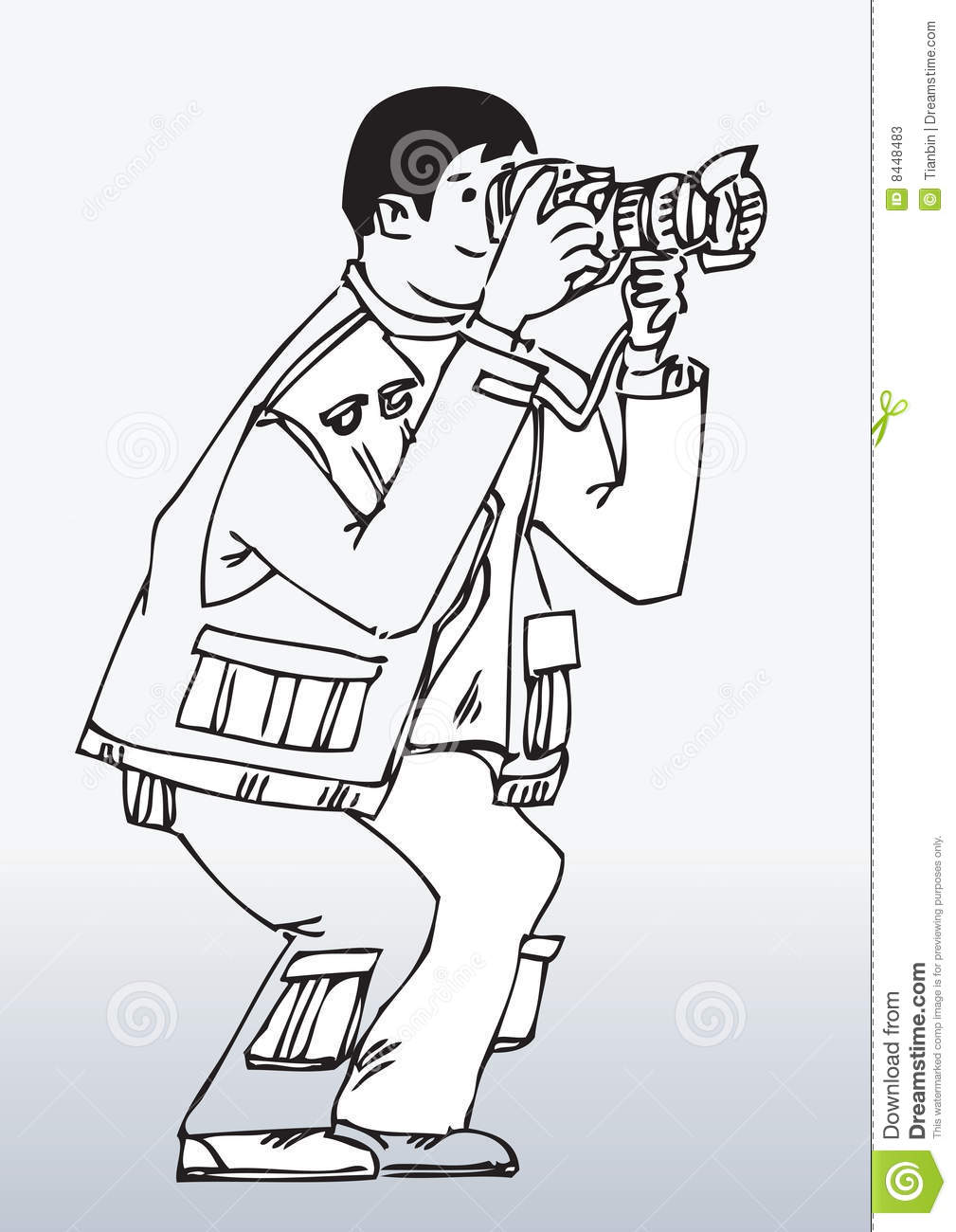 Cartoon Photographer Working