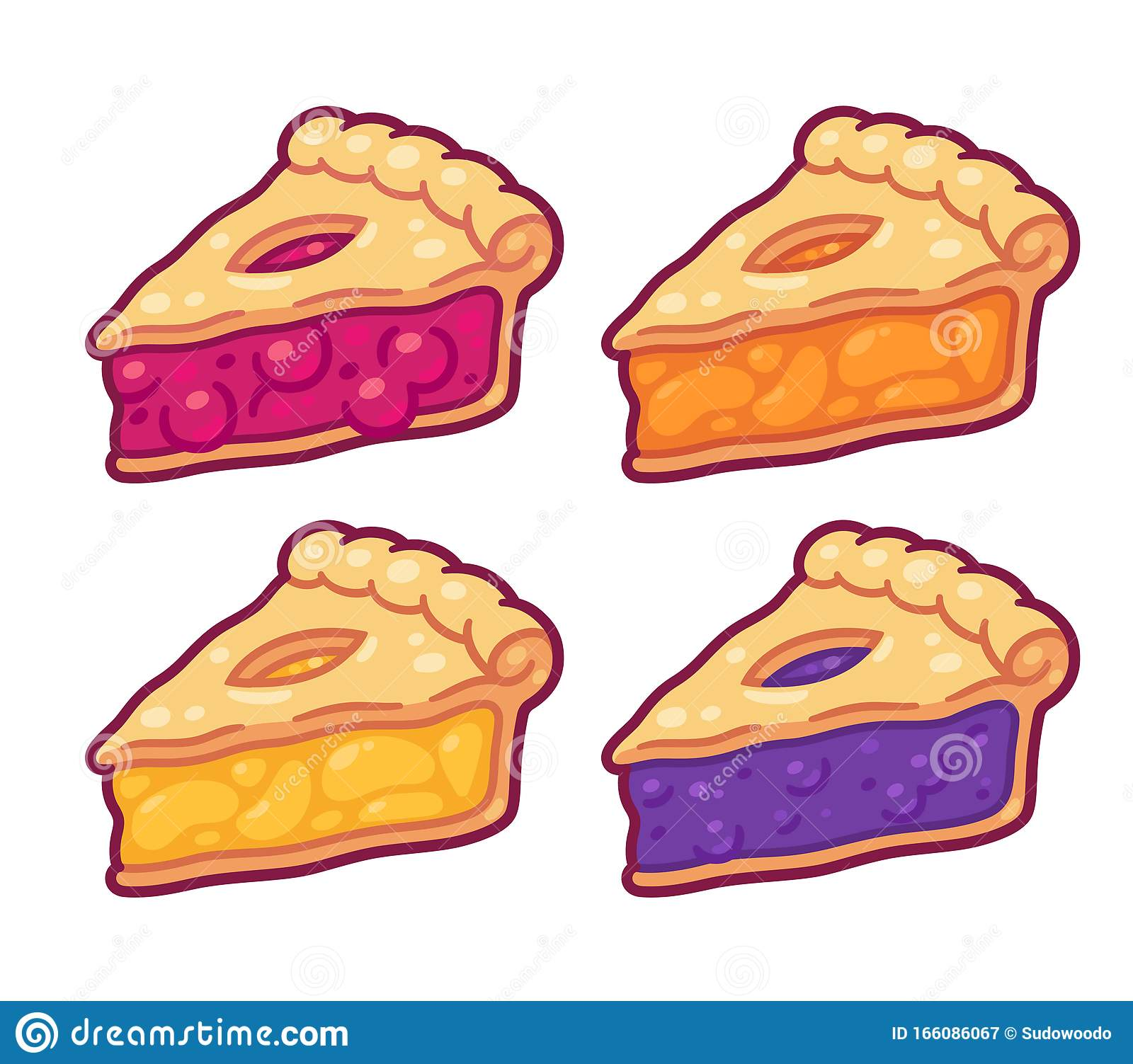 Cartoon Pie Slices Set Stock Vector Illustration Of Slices 166086067