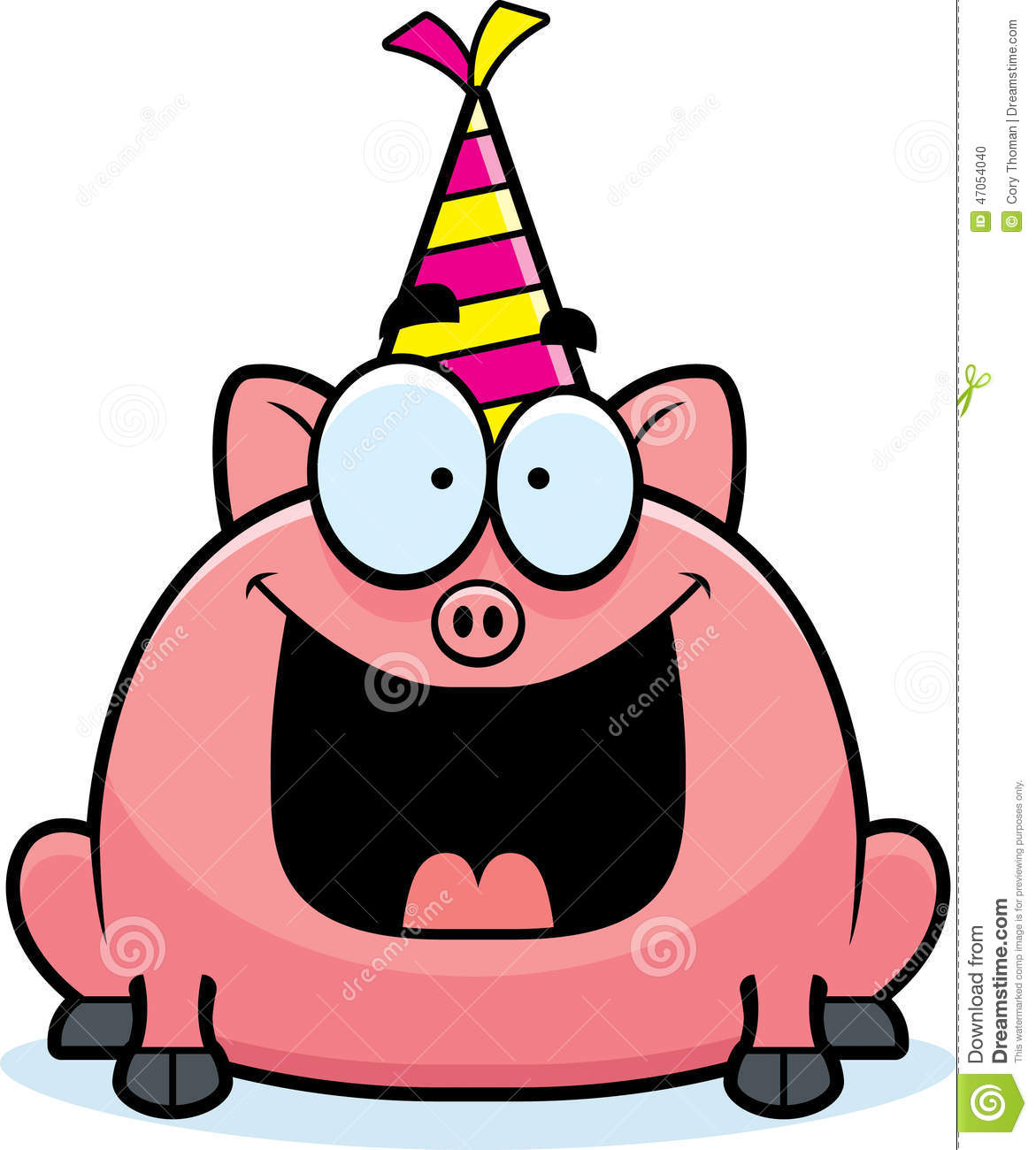 Cartoon Pig Birthday Party Stock Vector - Image: 47054040