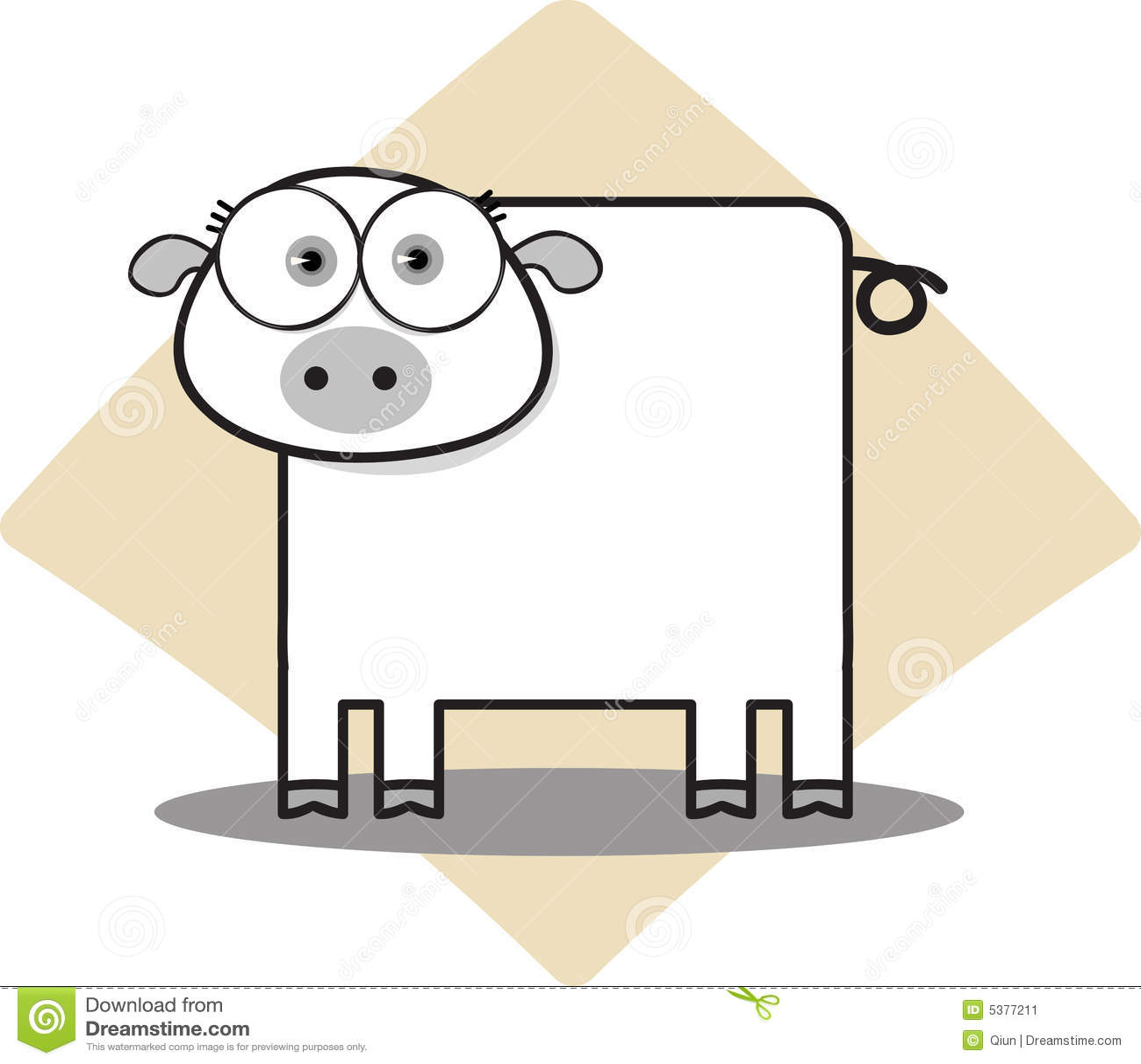 Cartoon Pig In Black A...