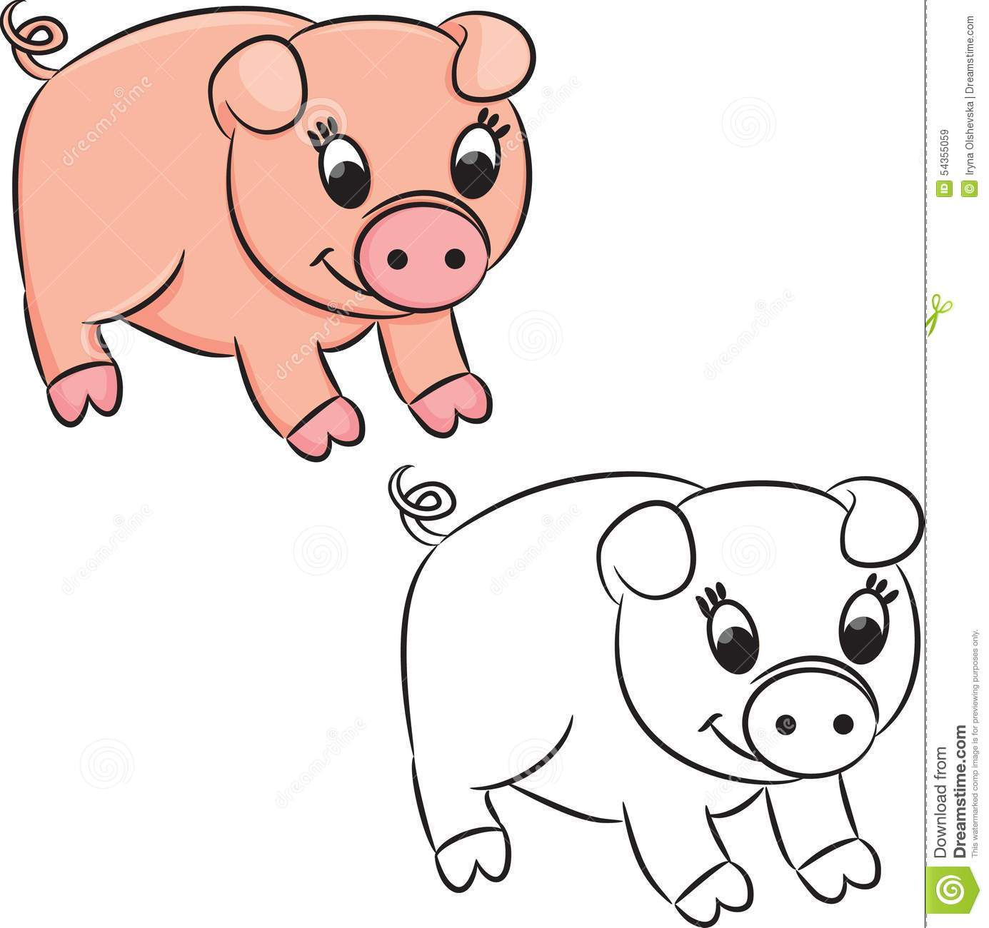 Cartoon pig. Coloring book stock vector. Illustration of ...