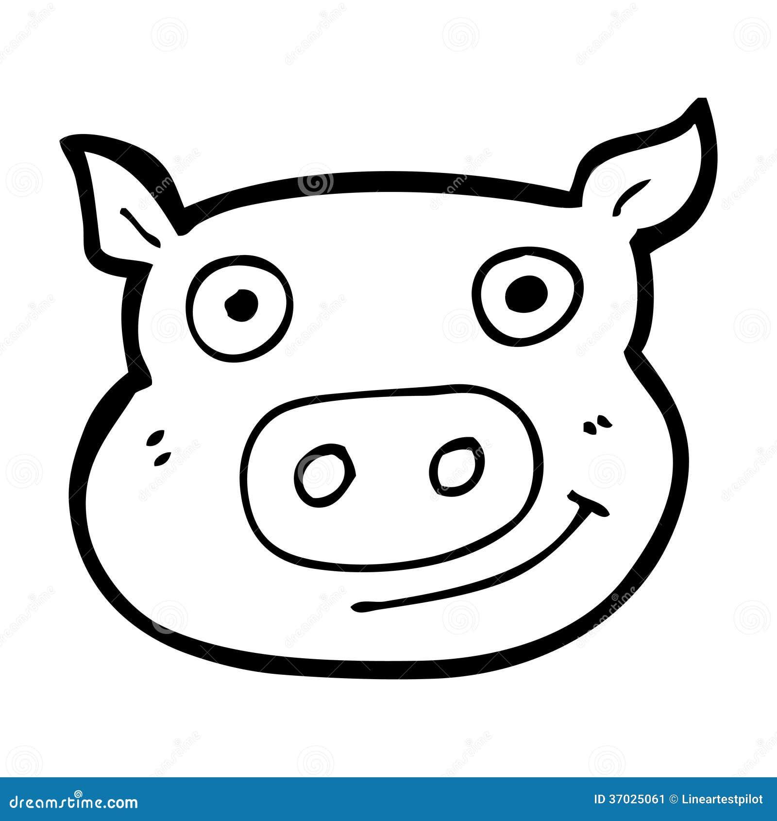Line Drawing Pig Face : Cartoon pig face stock image