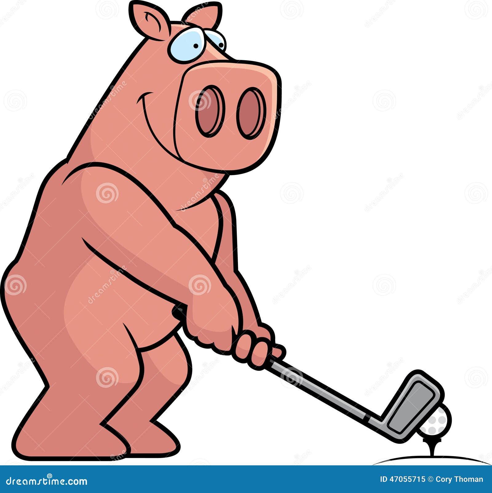 Cartoon Pig Golfing Stock Vector - Image: 47055715 Golf Ball On Tee Clipart