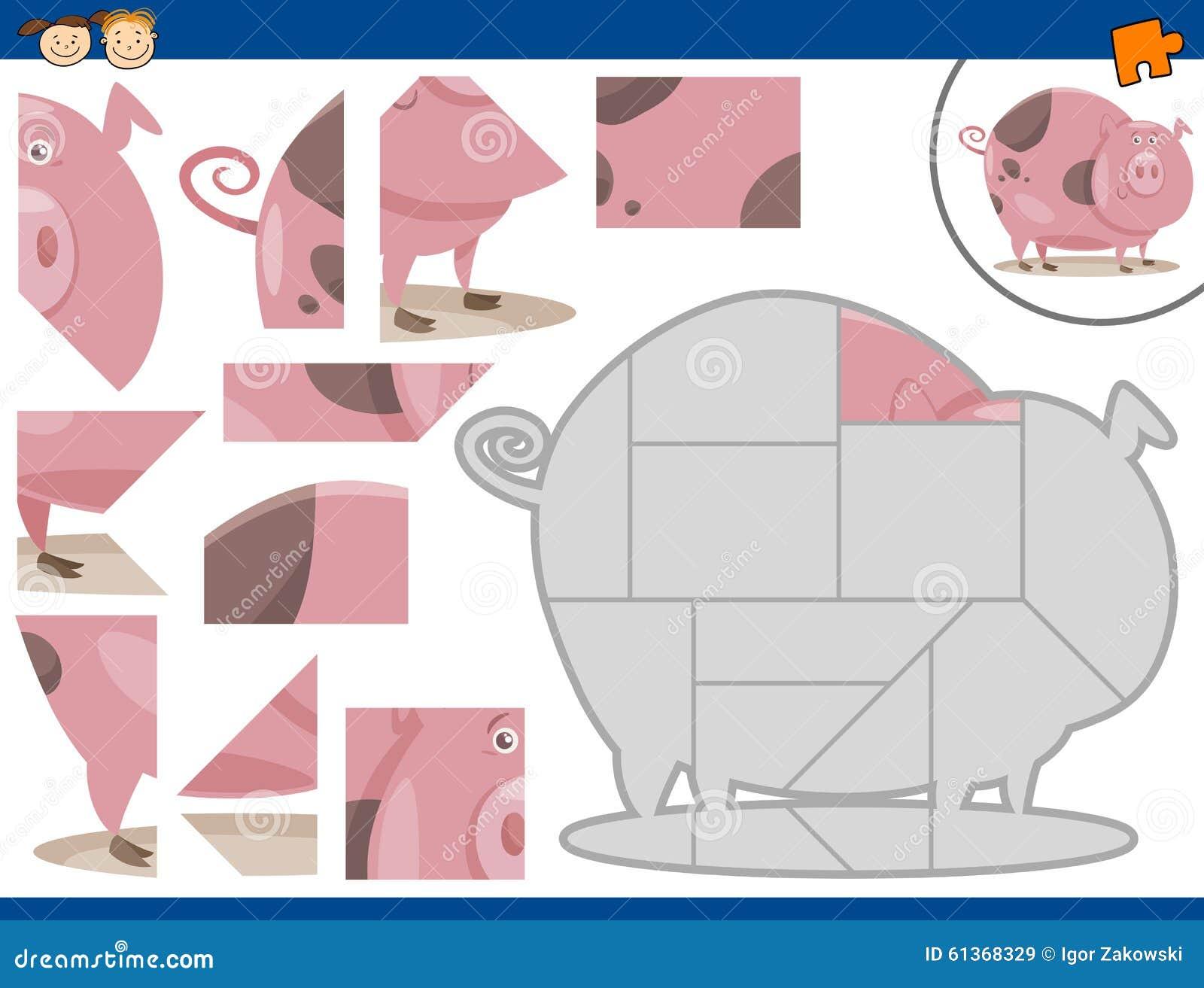 cartoon pig jigsaw puzzle task stock vector image 61368329 sheep brain diagram