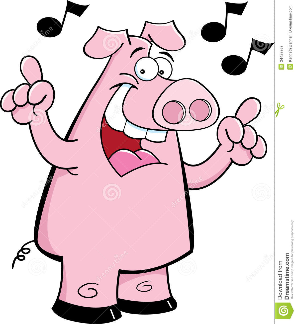 Cartoon Pig Singing Royalty Free Stock Photos - Image: 34423368