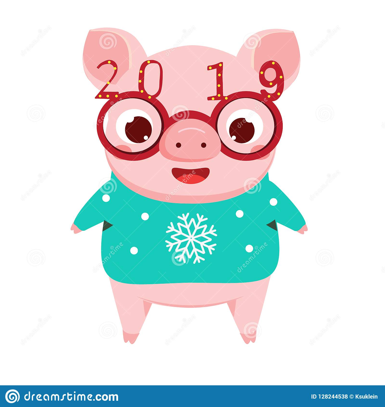 Cartoon Pig, Symbol Of Chinese 2019 New Year In Funny ...