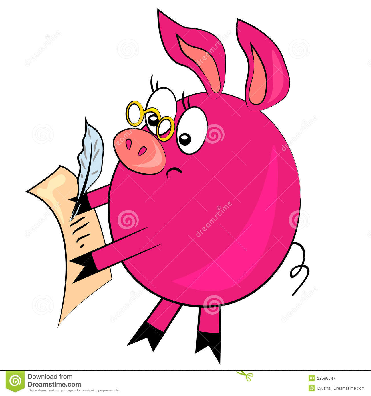 Cartoon Pig Writing Letter Animal Image Stock Vector Illustration