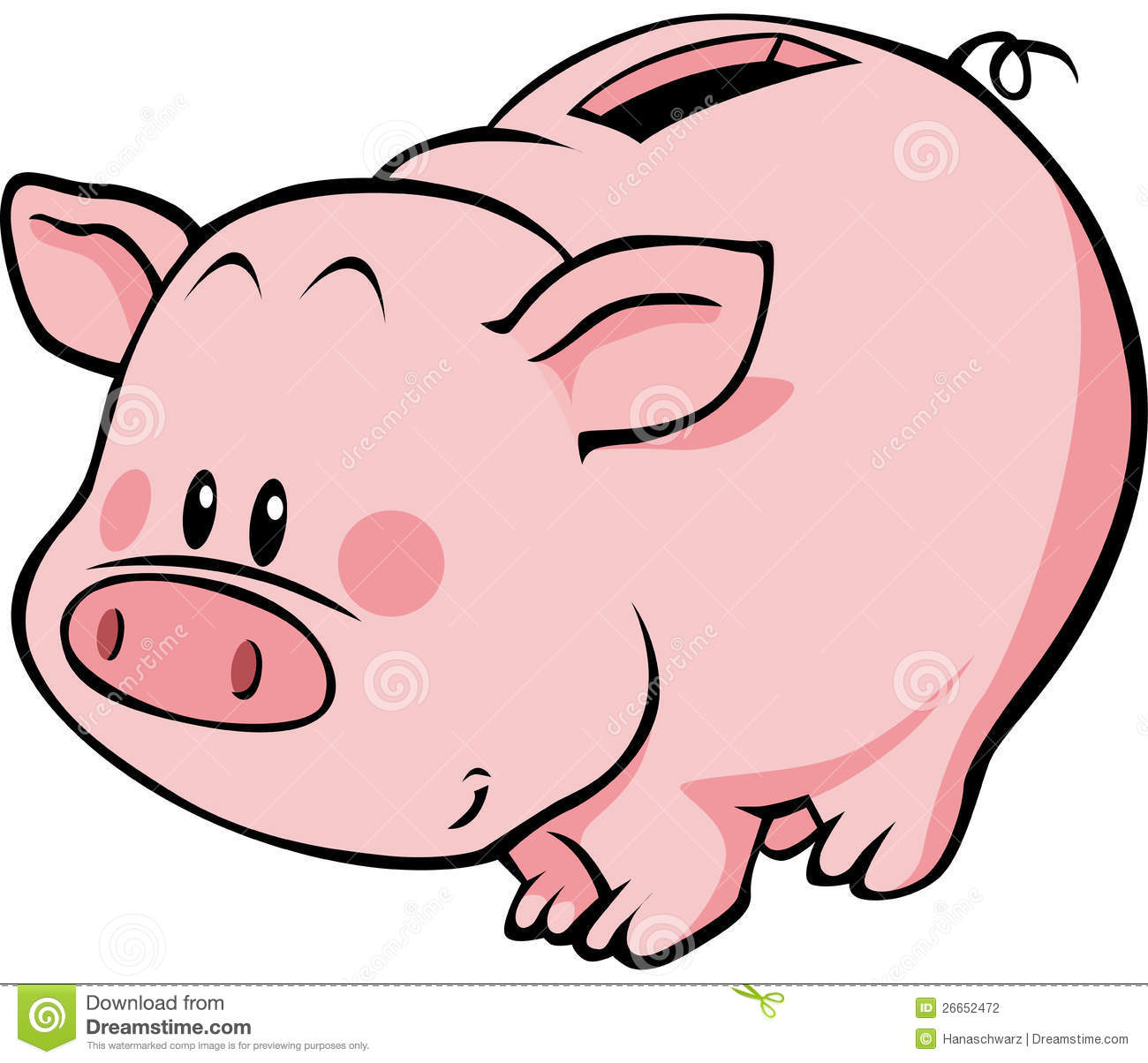 Illustration of pink cartoon piggy bank or money box isolated on white ...