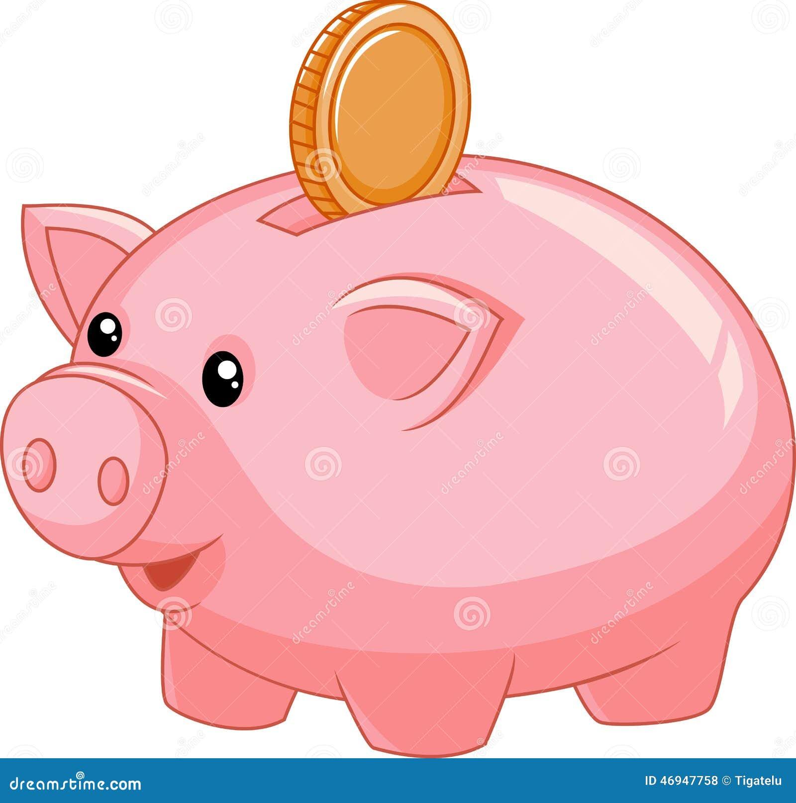 Cartoon Piggy Bank With Coin Stock Vector Image 46947758