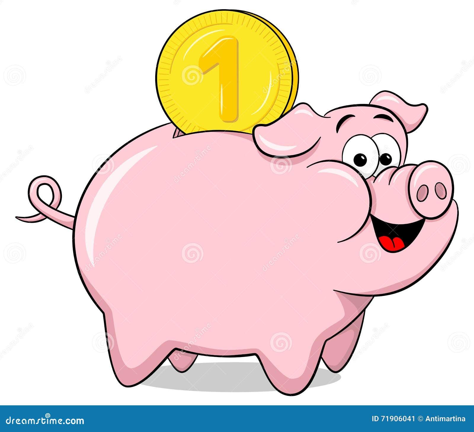 Cartoon Piggy Banks Eating Money Cartoon Vector