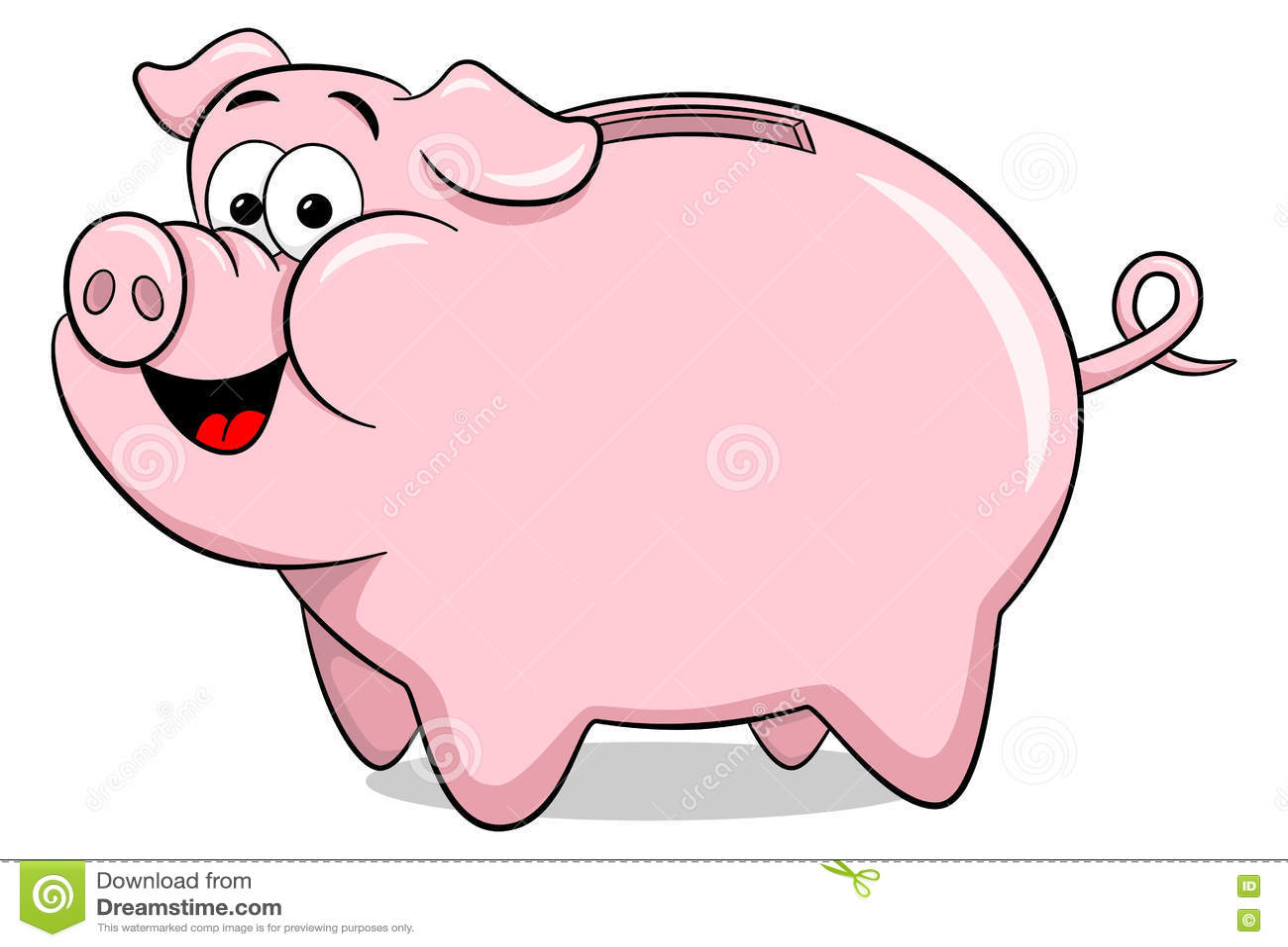 Cartoon Piggy Bank Stock Vector