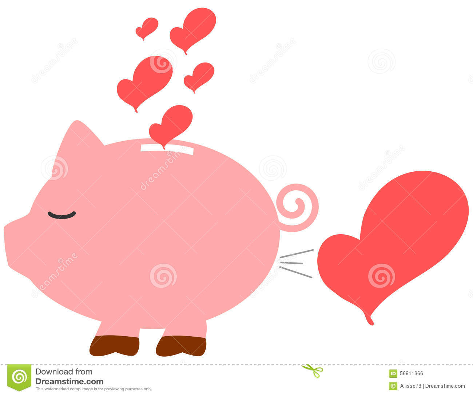 Cartoon Piggy Love Bank Romantic Concept Illustration