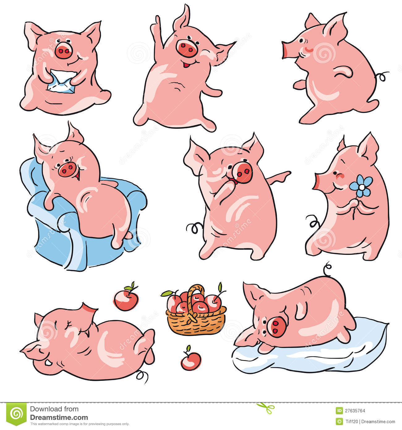 Eight funny cartoon pigs , isolated from a background.