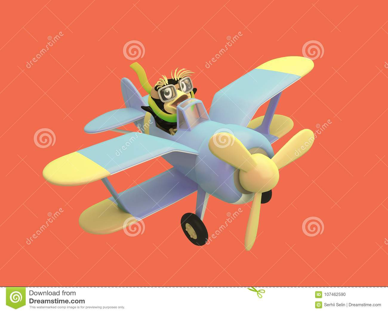 089ccbc6a9 Cartoon pilot penguin controls a funny blue plane. Cute 3d illustration.  Red background