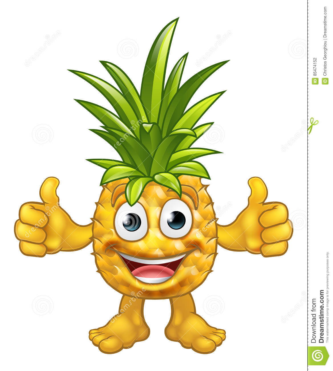 Cartoon Pineapple Fruit Mascot Character Stock Vector