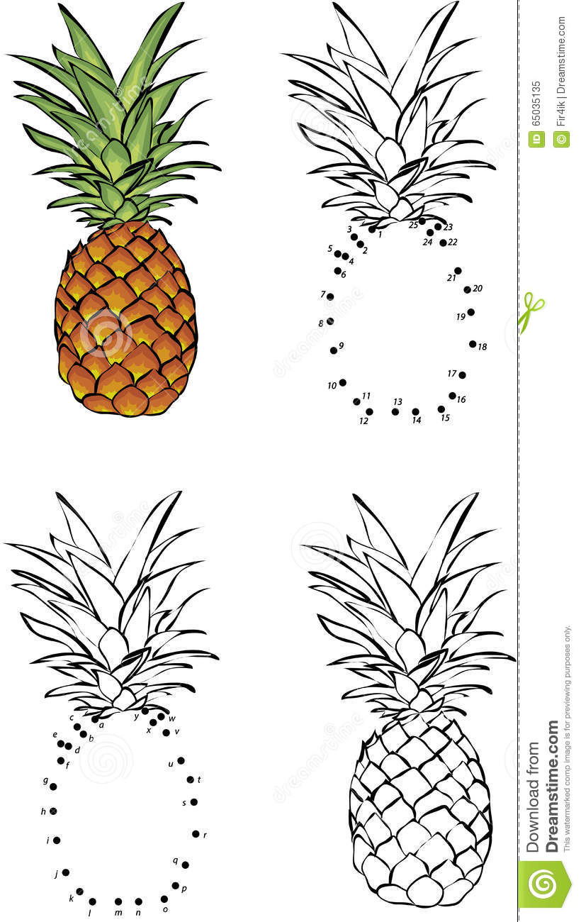 Cartoon pineapple vector illustration coloring and dot - Ananas dessin ...