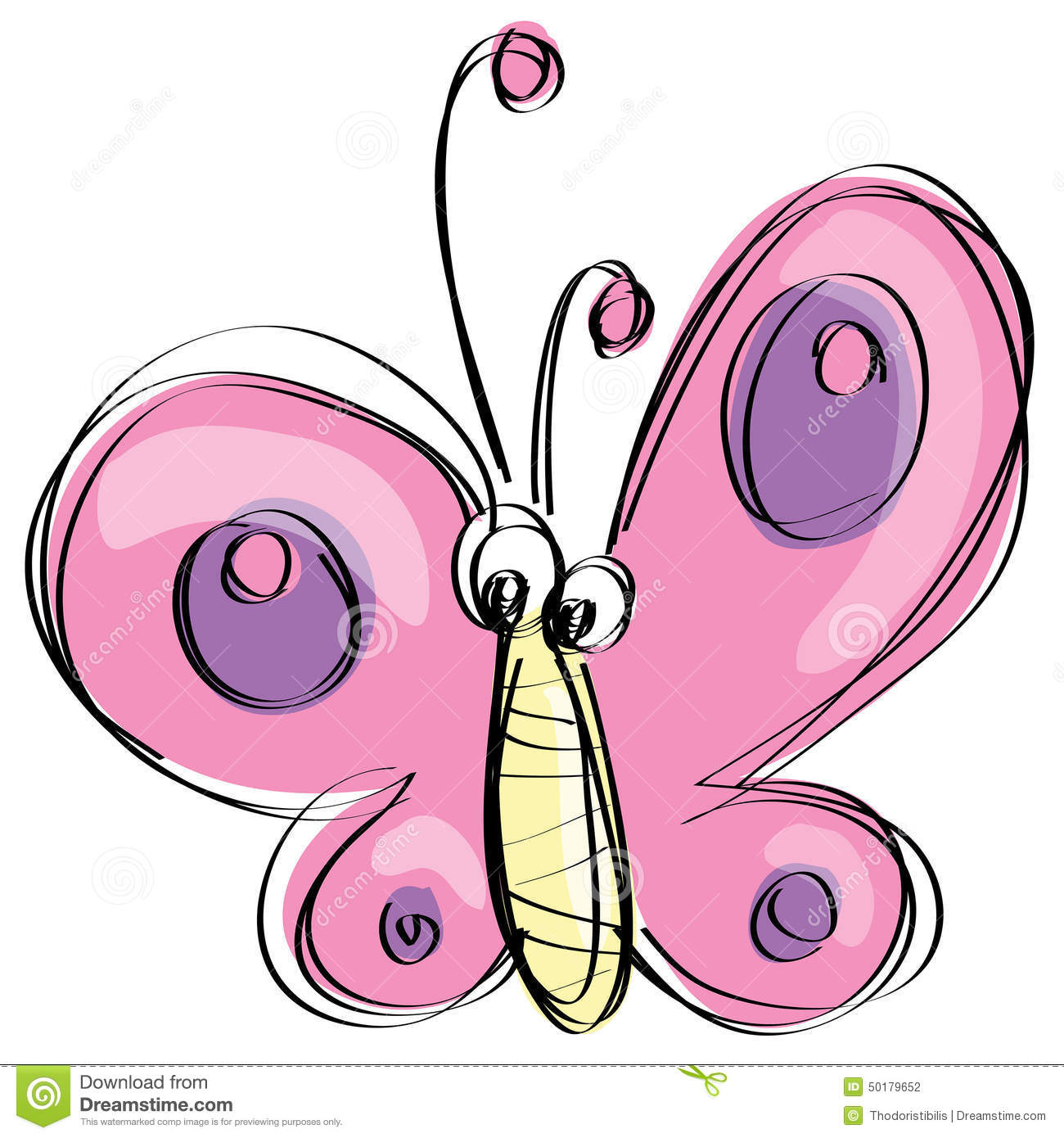 Cartoon Pink Butterfly With Funny Face As Naive Children ...